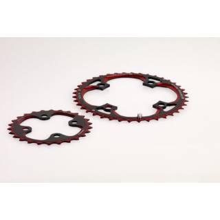 HiTeMP42 Kettenblätter Set 2-fach MTB BCD 104/64 40/26T rot-schwarz