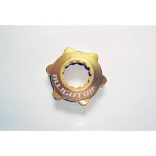 Alligator Centerlock Adapter auf 6-Loch Disc mit Verschlussring gold