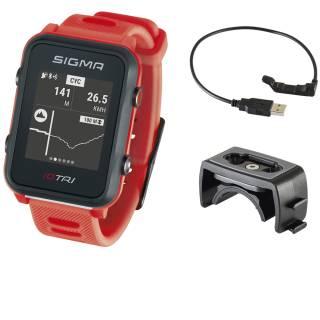 Sigma Sportuhr ID Tri neon rot Basic, GPS/Höhenmessung/Herzfrequenz/