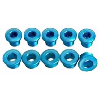 HiTeMP42 Kettenblattschrauben Alu 5 Stück blau glänzend