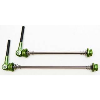 HiTeMP42 Schnellspanner mit Titanachse und Carbon Hebel MTB 43g grün