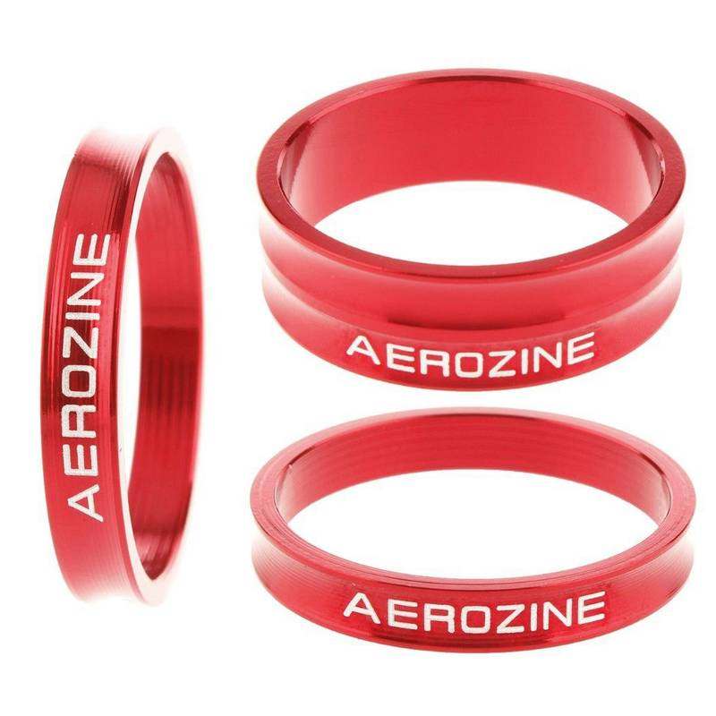 Aerozine Vorbau Spacer Ultralight 3-fach Set 2x5mm 1x10mm rot