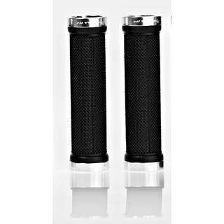 HiTeMP42 Lenker Griffe schraubbar MTB Länge 130mm BoltOn Grips silber poliert