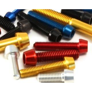 Carbon-Ti Aluminium Schraube M5x16 konisch zB für Flaschenhalter rot